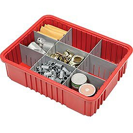 Plastic Dividable Grid Container, 22-1/2''L x 17-1/2''W x 6''H, Red - Lot of 3 by Quantum