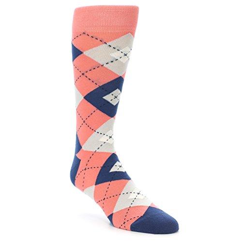 (Statement Sockwear Coral/Navy Argyle Groomsmen Wedding Men's)