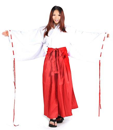 [SDWKIT Japanese Anime InuYasha Cosplay Costume Kikyou Shrine Maiden Set] (Japanese Costumes Uk)