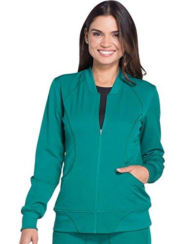 Dickies Dynamix' Zip Front Warm-up Jacket' Scrub Jacket Hunter Green Small