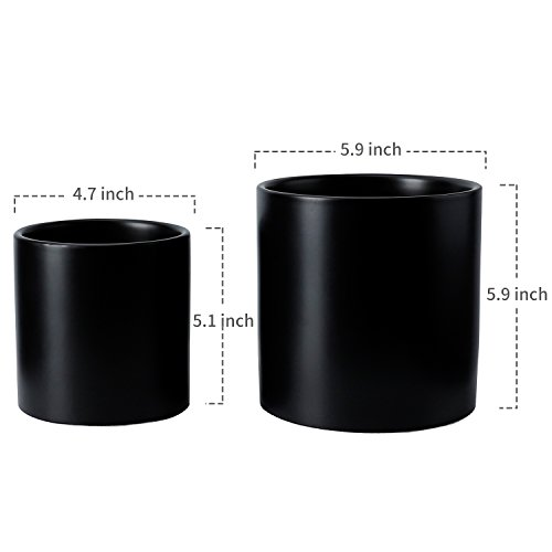 Vintage Style Medium Ceramic Pots - 5.9 and 4.7 Inch Planters with Drainage Holes for Indoor or Outdoor Flowers, Black Set of 2