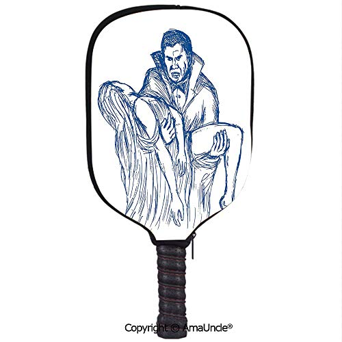 SCOXIXI 3D Pickleball Paddle Racket Cover Case,Count Dracula in Cape Carrying His Prey Victim Woman Sketchy Halloween ArtworkCustomized Racket Cover with Multi-Colored,Sports Accessories