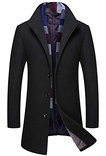 Itemnew Man's Gentle Stylish Detachable Scarf Single Breasted Thick Padded Wool Formal Pea Coat (Large, Black)