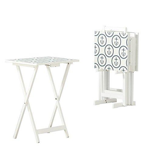Linon Larson Nautical High Gloss Tray Table Set in White
