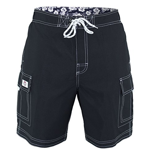 Style Black Short (Matereek Men's Solid Color Cargo Style Microfiber Boardshorts Black Charcoal Medium)