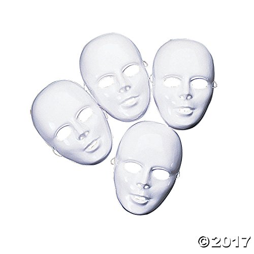 Number 9 Movie Costume (Design Your Own White Face Masks Pack of 12)