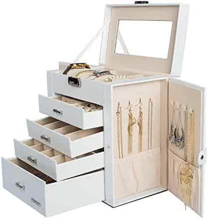 Homde Synthetic Leather Huge Jewelry Box Mirrored Watch Organizer Necklace Ring Earring Storage Lockable Gift Case (White)