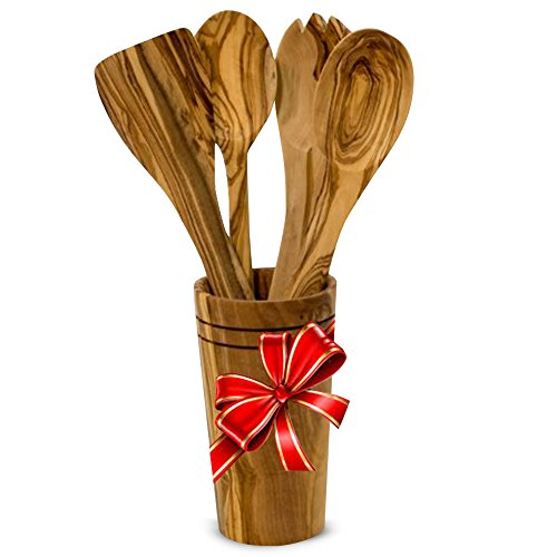 Olive Wood Kitchen Utensils - Ilyas Bazaar Olive Wood 5-Piece Cooking Wooden Utensil Set With Holder, Includes Spatula, Cooking/Mixing Spoon, Salad Spoon & Fork With Holder, Handcrafted In Tunisia, Unique Patterns/Color Variations