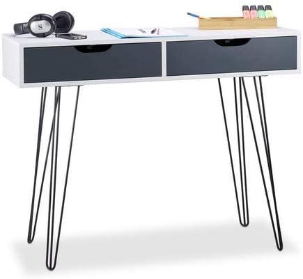 Relaxdays, 76 x 100 x 40 cm, Blanco Escritorio con cajones, Diseño ...