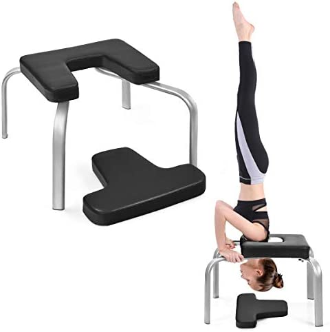 Giantex Yoga Headstand Bench w VC Pads, Yoga Inversion Chair, Yoga Inversion Trainer, Relieve Fatigue and Shape Body, Idea for Workout, Fitness and Gym