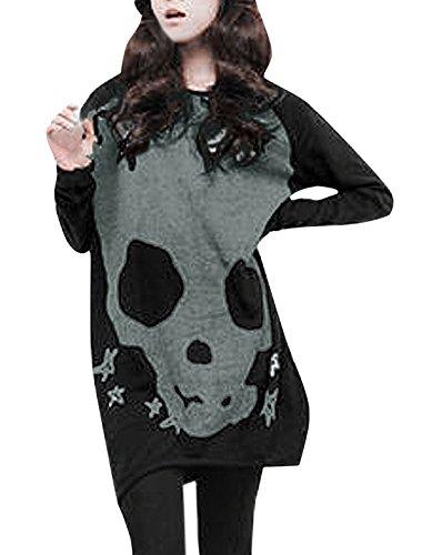Allegra-K-Women-Long-Sleeves-Skull-Stars-Loose-Tunic-Shirt