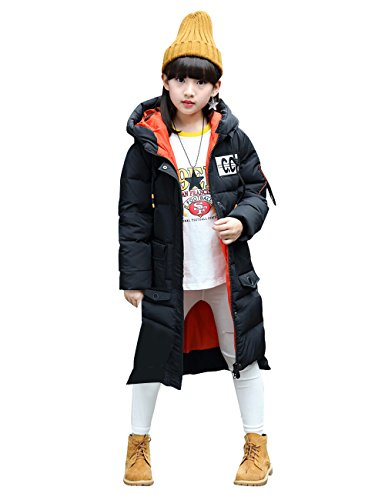 Menschwear Girl's Down Jacket Hooded Winter Warm Outwear Thicker Down Jacket (150,Black) by Menschwear
