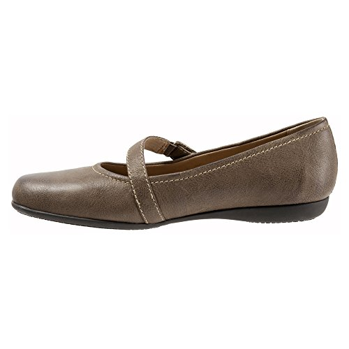 Trotters Womens Simmy Mary Jane Flat Sage Veg Tumbled Leather