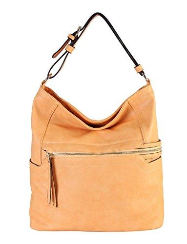 Rimen & Co. PU Leather Simpilicity Front Zipper Causal Hobo Womens Purse Handbag JQ-1864 (Nude Camel)