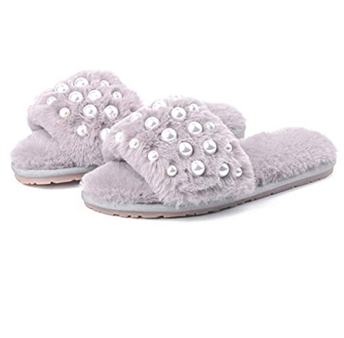 Classy Plush Slide Slippers Gray Women's Pearl Spa Fuzzy Inlaid Comfort Indoor Lining Fur Bedroom Shoes qBn8t