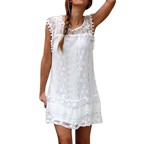 BSGSH Women's Casual Sleeveless Floral Lace Tassle Ball Trim Semi Sheer Summer Mini Dress (M, White)
