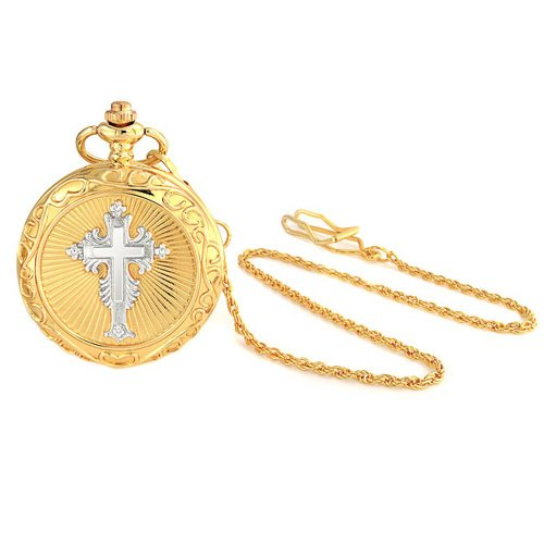 Bling Jewelry Two Tone Religious Cross Roman Numeral White Dial Mens Pocket Watch Gold Silver Tone Plated Alloy with Chain