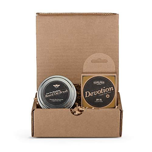 Beard Kit for Men - Devotion Patchouli Floral Aroma  Mens Beard Balm Set Includes The Can You Handlebar Beard Oil Brush (Beard Balm Applicator Brush) and Beard Balm (Dry Oil)   Made in The USA