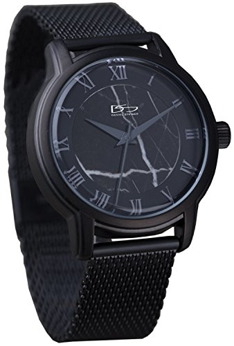 Daniel Steiger Marble Mesh Black Watch – Uniquely Patterned Marble Dial – Comfortable Mesh Band with Adjustable Clasp – Water Resistant – Presentation Case Included