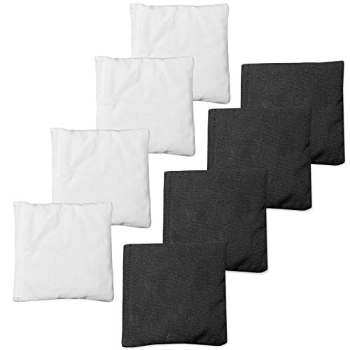 Weather Resistant Cornhole Bean Bags Set of 8 - Regulation Size & Weight - White & Black
