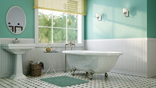Luxury 60 inch Clawfoot Tub with Vintage Tub Design in White, includes Brushed Nickel Ball and Claw Feet and Drain, from The Laughlin Collection by Pelham & White (Image #1)