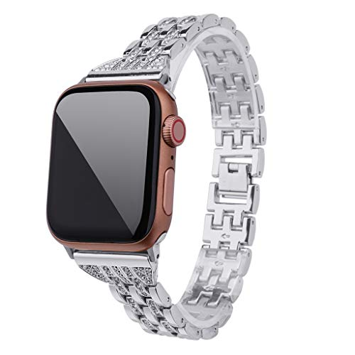 Cywulin Bling Band Bracelet Compatible for Apple Watch 40mm 44mm 38mm 42mm iWatch Series 4 3 2 Crystal Diamond Rhinestone Stainless Steel Replacement Dressy Wristband Link Strap (38mm/40mm, Silver)
