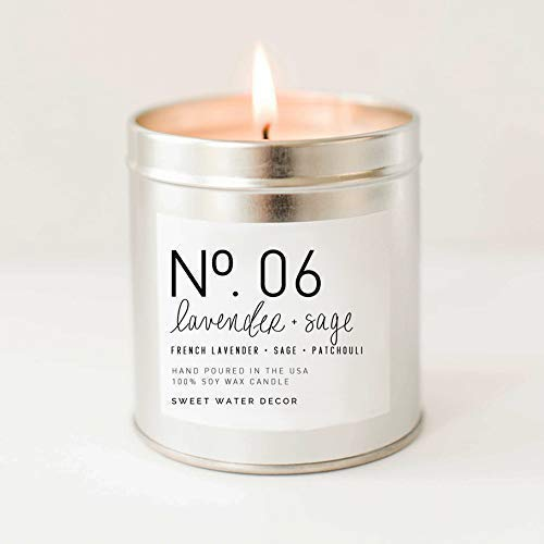 Lavender and Sage Natural Soy Wax Candle Tin Jar | Lime Fern Leaves Dill Moss Musk Pine Patchouli Ginger Spa Scented Country Modern Rustic Decor Lead Free Cotton Wick Housewarming Gift Made in USA