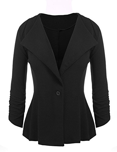 Dickin Women Solid Lapel Ruched Sleeve Single Button Front Blazer(Black,XL) (Sleeve Lapel Single)