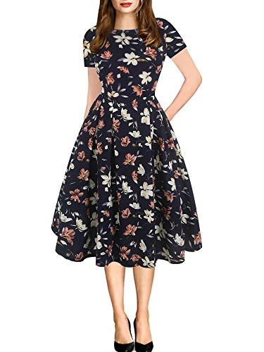 oxiuly Women's Vintage Patchwork Pockets Puffy Swing Casual Party Dress OX165 (XL, NB Orang F) ()