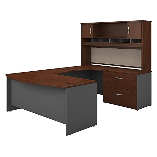 Hutch Modular Office Furniture - Bush Business Furniture SRC005HCRSU Series C 72W Right Handed Bow Front U Shaped Desk with Hutch and Storage in Hansen Cherry