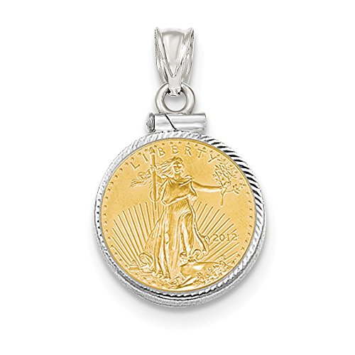 (Jewelry Stores Network 14K White Gold Screw Top 1 10Ae Bezel Coin)