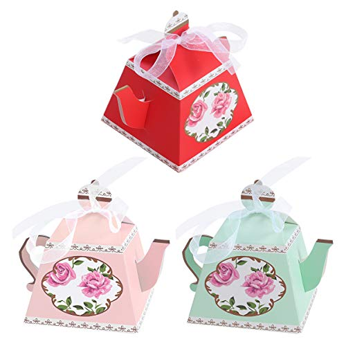 Amosfun Teapot Shaped Paper Candy Box Tea Party Candy Holder Box Birthday Wedding Party Gift Boxes with Ribbon 18Pcs