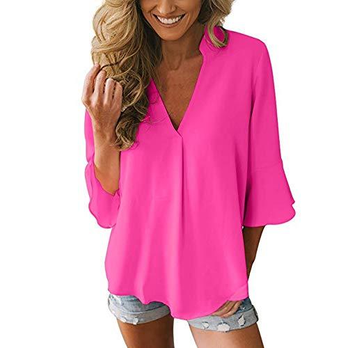 LISTHA Casual Chiffon Blouse for Women 3/4 Peplum Sleeve Tops Solid V Neck Shirt Hop Pink ()
