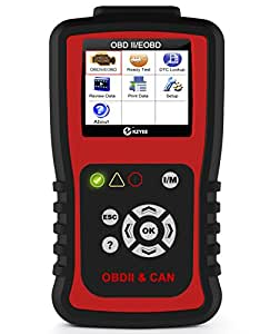 Kzyee KC201 OBD2 Scanner Diesel Gas Engine Light Reset Code Reader OBD II Vehicle Fault Codes Diagnostic Scan Tool with 8 Modes
