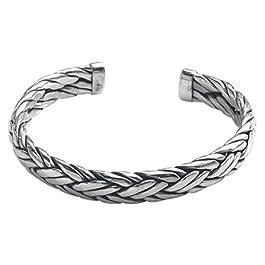 NOVICA Men's Modern Woven .925 Sterling Silver Cuff Bracelet 'Flowing Water'
