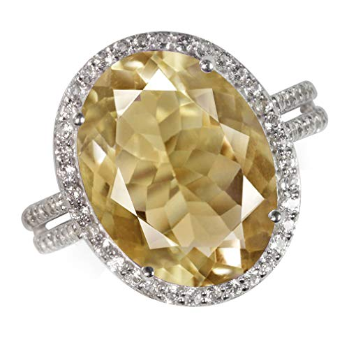 Silvershake Huge 8.2ct. Natural Citrine and Topaz White Gold Plated 925 Sterling Silver Ring