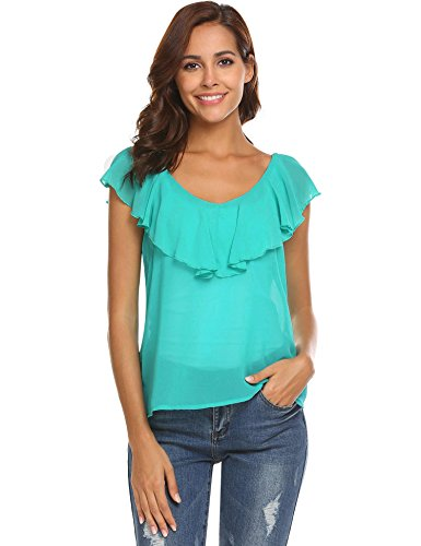 Dealwell Women's Casual Chiffon Solid Color V-Neck with Ruffle Trim Tank Tops Sapphire L - Layered Look Ruffle Trim