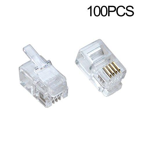 100Pack Transparent Color RJ9 Telephone Cable Plug 4P4C Connector ()