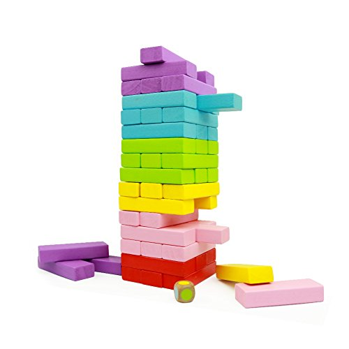 GEDIAO Wooden Stacking Board Games Building Blocks Timber Tower- 48 Pieces Premium Quality Set Tower and Dice by GEDIAO