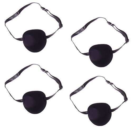 4pcs Unisex 3D Comfort Eye Patches with Adjustable Strap for Adults and Kids, Black -