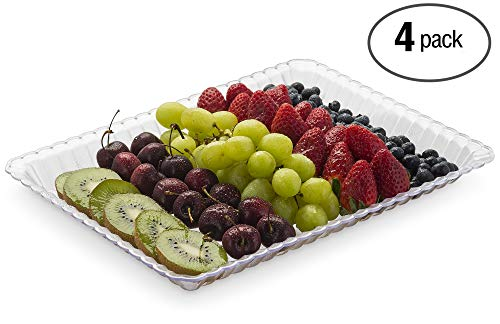 Embellish Rectangle Clear Plastic Serving Tray 9'' x 13'' Pack of 4, (Fruit Plastic Tray)