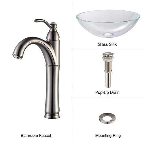 Crystal Glass Lavatory Sink (Kraus C-GV-100-12mm-1005SN Crystal Clear Glass Vessel Sink and Riviera Faucet Satin Nickel)