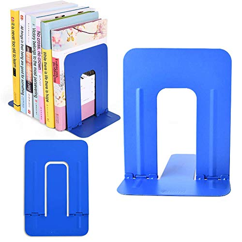 COCIVIVRE Book Ends for Heavy Books, Book Stopper Metal Bookends Support for Shelves Non-Skid Foldable 6-Inch Economy Universal Premium Decorative Bookends (1 Pair, Blue) - Cat Agate Blue