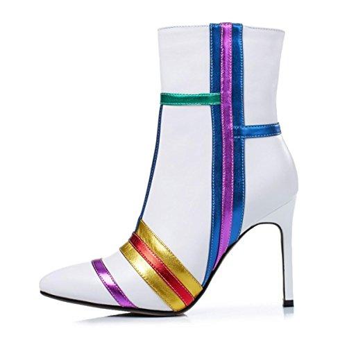 Mujer Tobillo Cuero Botas Puntiagudo Dedo del pie Estilete Alto Tacón Deletrear Color Lado Cremallera Moda Fiesta Vestir Invierno Blanco