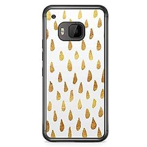 HTC One M9 Transparent Edge Phone Case Gold Doodle Drop Phone Case Gold Rain M9 Cover with Transparent Frame