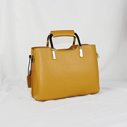 Burenqi@ Parte simple hembra silvestre bolsa bolso VINTAGE HANDBAG hombro bolsa diagonal/Longitud 25cm/17cm de alto,el verde Calabaza amarilla