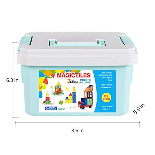 Magnetic Building Blocks 82 Pcs, Magnetic Tiles Educational Construction Toys for Boys and Girls with Giftbox (82 PCS) by Baobe (Image #4)