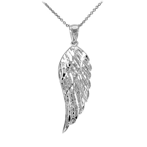 (Religious Jewelry by FDJ Textured 925 Sterling Silver Angel Wing Charm Pendant Necklace, 16