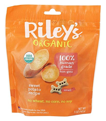Riley's Organics - Sweet Potato - 5 oz Small Biscuits - Human Grade Organic Dog Treats - Resealable Bag