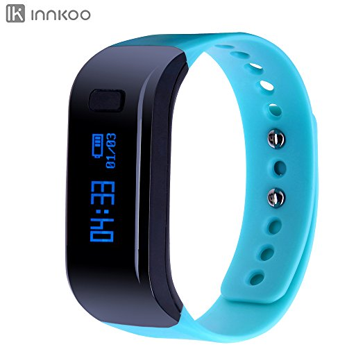 InnKoo U1 Waterproof Fitness Tracker Pedometer Watch Band Calories Counter Smart Sports Bracelet Wristband Activity and Sleep Monitor, Bluetooth Sync Anti-lost Long-time Standby (Blue)